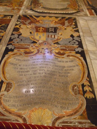 The floor of St. John's Co. Cathedral is a vast patchwork of marble tombstones