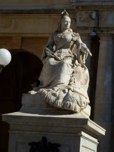 Statue of Queen Victoria outside the library building in Republic Square