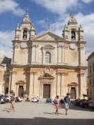 Front view of St. Paul's Cathedral in Mdina
