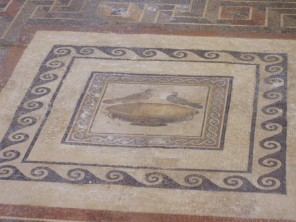 Mosaic floor depicting the Drinking Doves of Sosos - one of the mostfamous motifs of antiquity