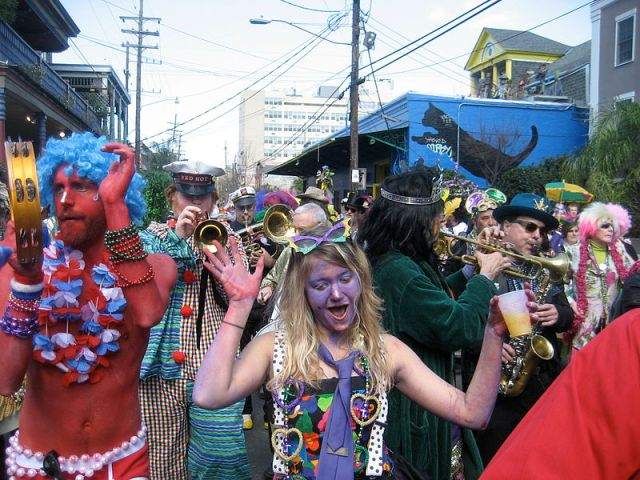 Mardi Gras Day in New Orleans. Krewe of Kosmic Revelers on Frenchmam St. 2009. Author: Infrogmation of New Orleans