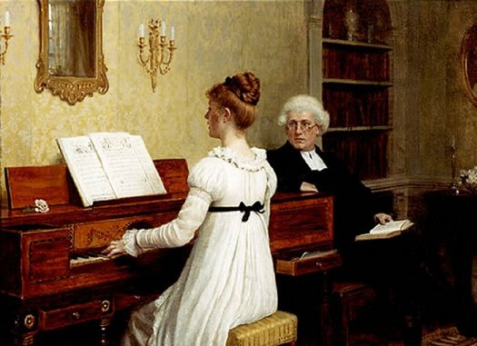 Singing to the Reverend by Edmund Leighton. 1853-1922. Wikimedia Commons, Public Domain