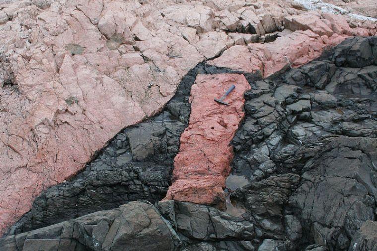 Included fragment of granite within basalt. Near Georgeville, Nova Scotia. Rygel M.C. Commons