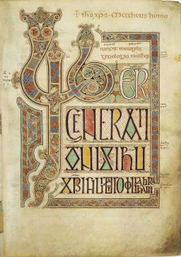 Folio 27r from the Lindisfarne Gospels contains the incipit from the Gospel of St. Matthew. Uploaded by Airump. Public Domain
