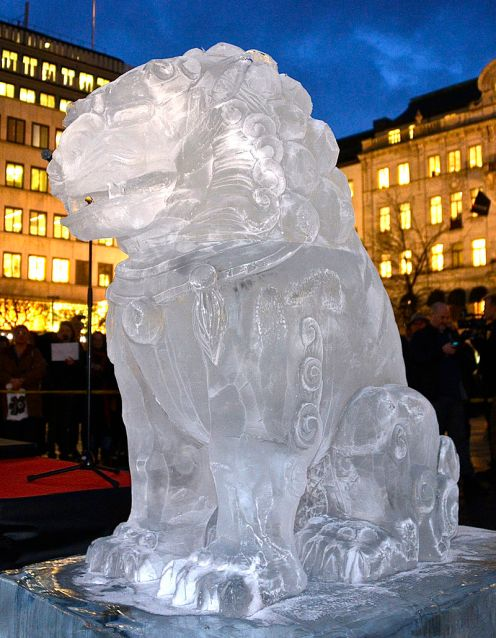 Ai Weiweis Ice Sculpture in Stockholm, Sweden, 2014. Uploaded by Frankie Fouganthin (own work).