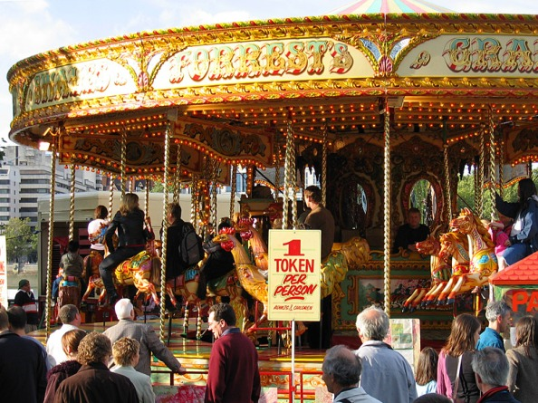 Carousel on London's Southy Bank during a summer festival. Photo: Andrew Dunn. Commons