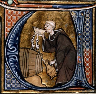 Monastic cellarer tasting wine. From a French manuscript. late 13c. Public Domain