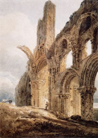 Remains of Lindisfarne Priory: 1798 by Thomas Girton. The priory's rainbow arch (which still survive) is shown truncated for artistic effect.