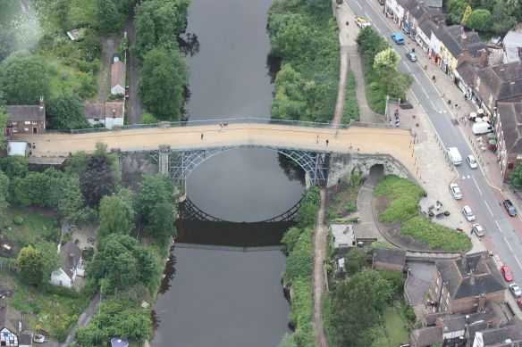 The Iron Bridge (aerial) by James Humphreys - Salopian James. Commons