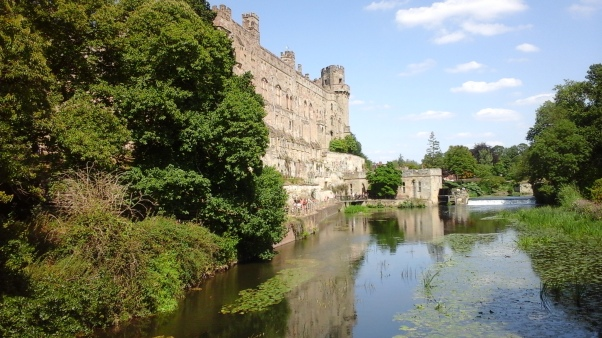 The River Avon acts as a natural moat along the curtain wall of Warwick Castle