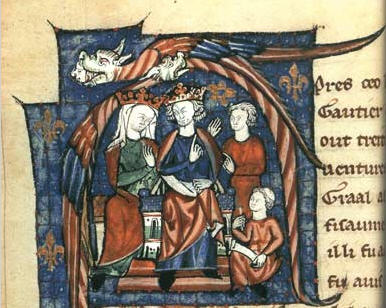 John's parents: Henry II and Eleanor of Aquitaine, holding court. Anonymous. Public Domain