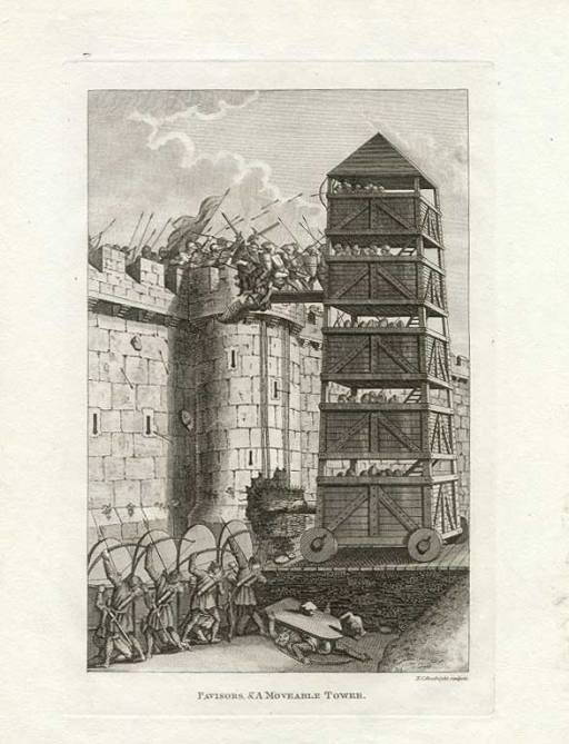 Medieval English siege tower. Author: Grose-Francis. Public Domain