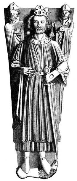 Drawing of the effigy of King John in Worcester athedral from 'History of England'Gy Samuel R. Gardiner. Public Domain