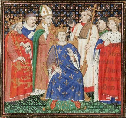 Coronation of Philip Auguste in the presence of Henry II of England. Uploaded by Jan Arkensteijn. Public Domain