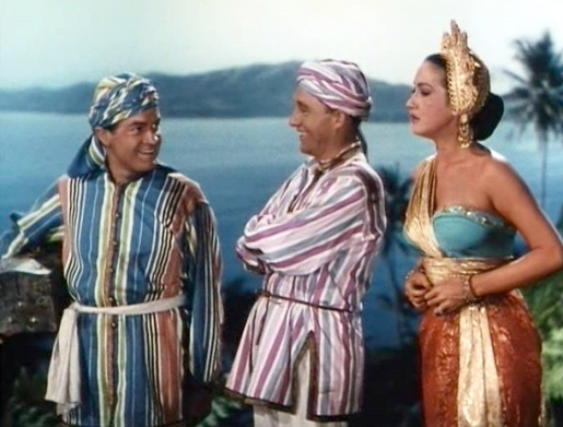 Screen shot of Bob Hope, Bing Crosby and Dorothy Lamour from