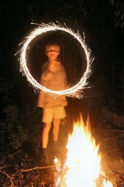 Gary Marshman (11) enjoying an English Bonfire Night on November 5. Author: R. Neil Marshman. Commons