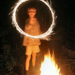 Gary Marshman (11) enjoying an English Bonfire Night on November 5. Author: R. Neil Marshman. Commons