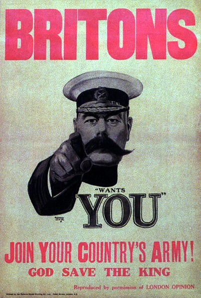 Kitchener's First World War Recruitment Poster. Public Domain. Author Alfred Leete, 1882-1993