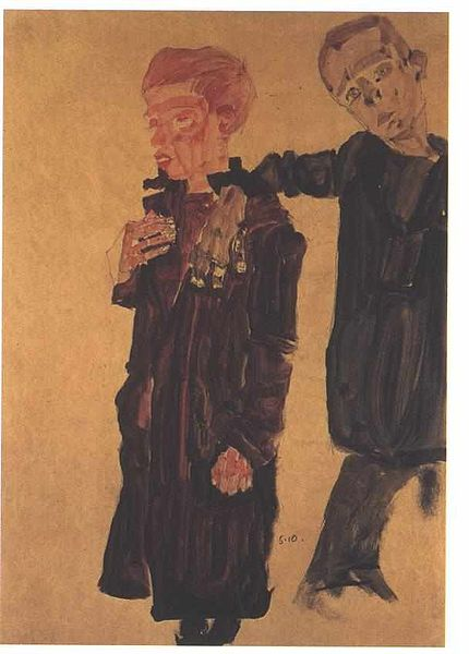 Two guttesnipes, 1910. Author: Egon Schiele. Public Domain