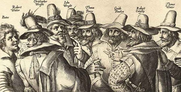 Detail from a contemporary engraving of the Gunpowder Plotters. The Dutch artist probably never actually saw or met any of the conspirators, Source: National Portrait Gallery. Wikimedia Commons