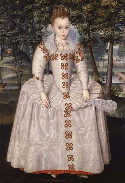 Princess Elizabeth of Bohemia, daughter of James 1. Artist: Robert Peake the Elder 1551-1619. Photographer@ Weiss Gallery. National Portrait Gallery, London. Wikimedia Commons. Public Domain.