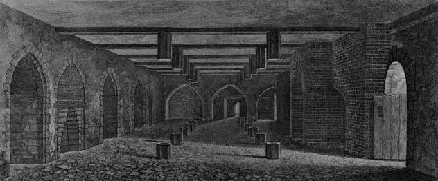 The cellar underneath the House of Lords, as drawn by William Capon, 1799. Public Domain. Wikimedia Commons.