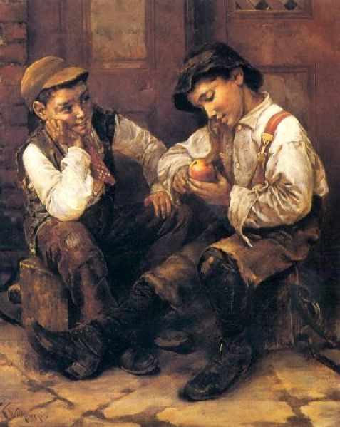 Street Urchins: oil on canvas. Artist: Karl Witkouski, 1810-1910. Public Domain