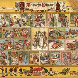 German Advent calendar (1903) from Im Lande des Christkinds. Windows contain Christmas poems. Images from a cut-out sheet were pasted over them. Authot Richard Ernst Kepler, 1851-1927. Public Domain.