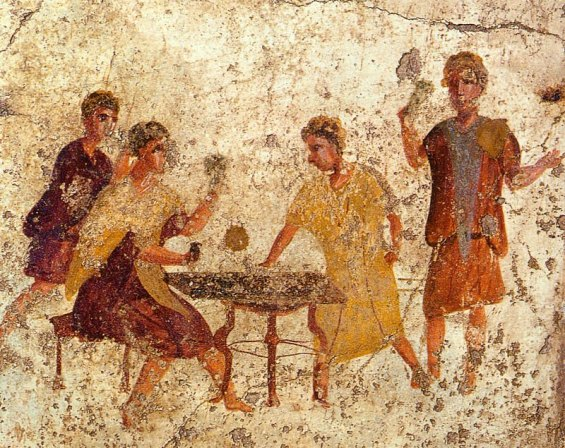 Dice players on a wall in Pompeii. Author: WolfgangRieger. Public Domain