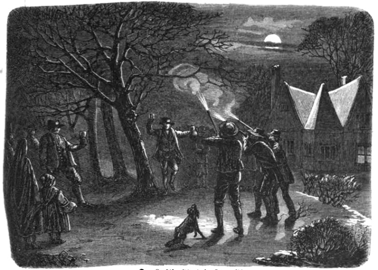 Twelfth Night in a Devonshire orchard, (UK) circa 1863. Making noises near to the trees was common during wassailing. Farmers would bang on drums, trays and pots or fire off their guns in order to scare off evil spirits. Author unknown. Public Domain