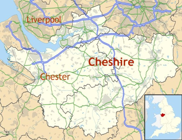Map of Cheshire showing location of Chester. Source: Ordnance Survey OpenData. Author: Nilfanion, Creative Commons