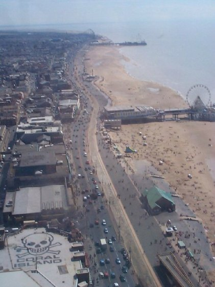 Blackpool's ' Golden Mile' viewed from the top of the Tower. From geog.org.uk. Author: Mike Hartley. Creative Commons