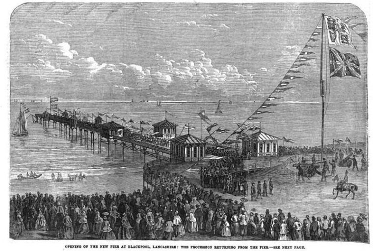 Blackpool North Pier opening. Author: Mr. W. Woods of Liverpool, 1863. Public Domain