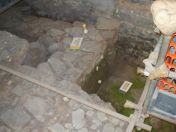 Cellar remains showing levels of settlement at Dewa Museum