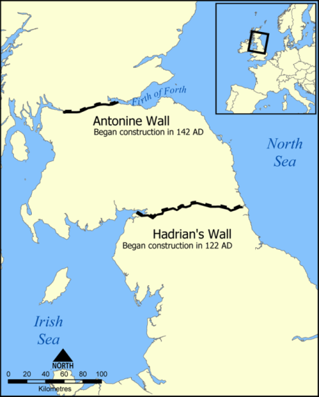 Location of Hadrian's Wall and the Antonine Wall. Author: NormanEinstein. Creative Commons