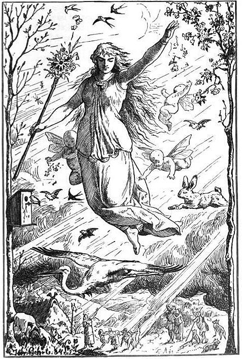 Ostara (Eostre0 bu Johannes Gehrts, 1901. Ostara flies through the heavens surrounded by Roman inspired putti, beams of light and animals. Germanic peoples look up at the goddess from below. Public Domain.