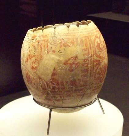 Ostrich egg shell with painted red lines. Punic artwork from Iron Age II. Current location: National Archaeological Museum of Spain. Photographer: Luis Garcia (Zarqarbal). Commons.