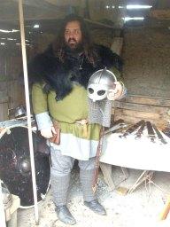 Bear with his helmet