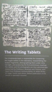 Vindolanda Writing Tablets, shown on an informaton board in the Vindolanda museum.