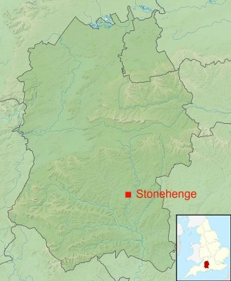 Approximate location of Stonehenge in Wiltshire, UK