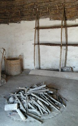 Central hearth and weaving loom
