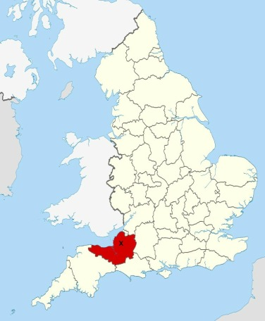 Location of the county of Somerset. Source; Ordnance Survey OpenData. Author: Nilfanion. Creative Commons