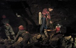 Gough's Cave - men working.