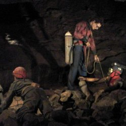 Gough's Cave - men working.