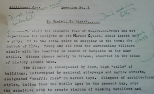 Writing Assignment from 1988