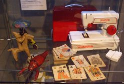 Sewing machine,lobster and clay horseman