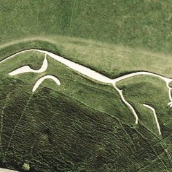 Satellite view of the Uffington White Horse. Author: UsGS Creative Commons