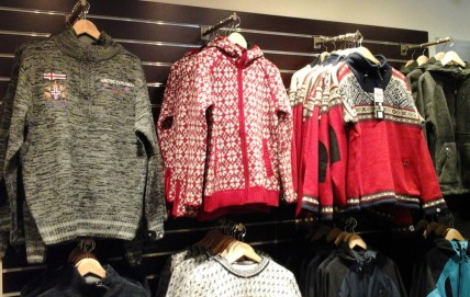 Woollen goods are on sale in many places in Iceland. Their designs are quite distinctive.