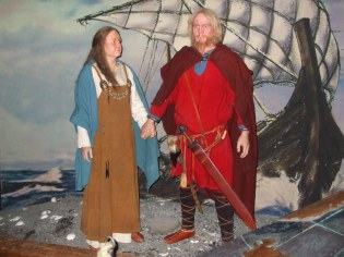 Ingolf Arnarson and his wife Hallveig arriving in Iceland. Photo taken in the Saga Museum in Reykjavig.