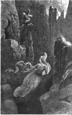 Engraving of a man jumping after a woman (elf) into a precipice. From the Icelandic legend of Hildur, Queen of the Elves. Artist: Johann Baptist Zurecker, 1815-1876. Public Domain.